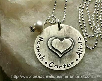 NEW DESIGN - Smaller Double Stacked Hearts with Three Names Hand Stamped Necklace