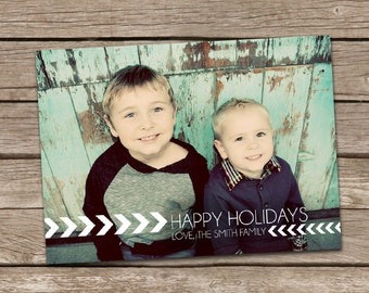 Photo Christmas Card : Simple Chevron Custom Photo Holiday Card 2013 Printable