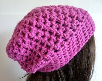 Crochet Slouchy Hat in Pink, Fuchsia for the Fall and Winter