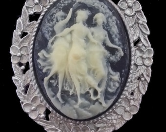 CAM-01B Three Muses on Black Cameo Brooch