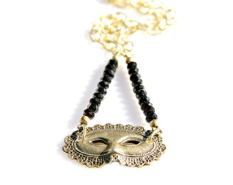 Gold Mask Necklace Venetian Carnival Masquerade Necklace Italian Necklace Black and Gold Necklace Mysterious Vintage Old World by Mei Faith
