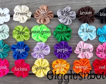 10 pc PiCK YouR CoLoRS- SaTIN RiBBoN FLoWERS 1.5 Inch Size