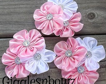 Set of THREE Embellished Satin CLuSTeR Flowers- PiNK and WHiTe- NEW  2.5-3 inch Size
