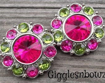 LaRGe RHiNeSToNe BuTToNS 30mm -Set of 2 SHoCKiNG PiNK/ LiME GReeN Plastic Acrylic Rhinestone Buttons