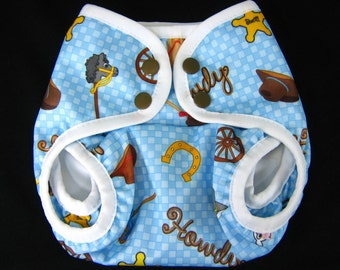Gussetted  Diaper Cover -  Western Cowboy PUL Front Snap Cloth Diaper Cover for  Boy Pul  Nappy Cover NB S M  L  XL  Size 1 Size 2 One-Size