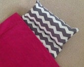 Personalized nap mat, Great for daycare or preschool. Gray chevron pink blanket for girls, Soft and cuddly.