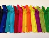 3 inch YKK zippers, brights, Twelve pcs, black, royal blue, turquoise, bright aqua, red, hot pink, sunflower, orange, yellow, fuchsia, green