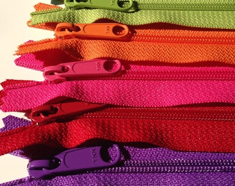 30 inch Handbag zippers, long pull, Six YKK zippers to match bright fabrics - purple, red, hot pink, orange, green apple, turquoise