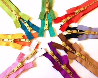 Metal zippers, 8 inch brass zippers with gold teeth, Sixteen pcs, neutrals, green, peacock, purple, pink, bright red, orange, yellow, olive