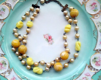Vintage Yellow Molded Glass and Butterscotch Plastic Beaded necklace Choker Statement