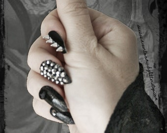 Deviant | Press On Stiletto Spiked Fake Nails |  Gothic Fake Nails |  Spike Nails |  Fierce | Punk | Black Stud Spike Nails | Bad Girl Nails