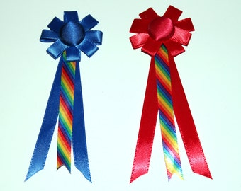 2 Medium Model Horse Rosettes, 5 inches, Rainbow Stripes Theme, Set of 2 Awards, Red and Blue