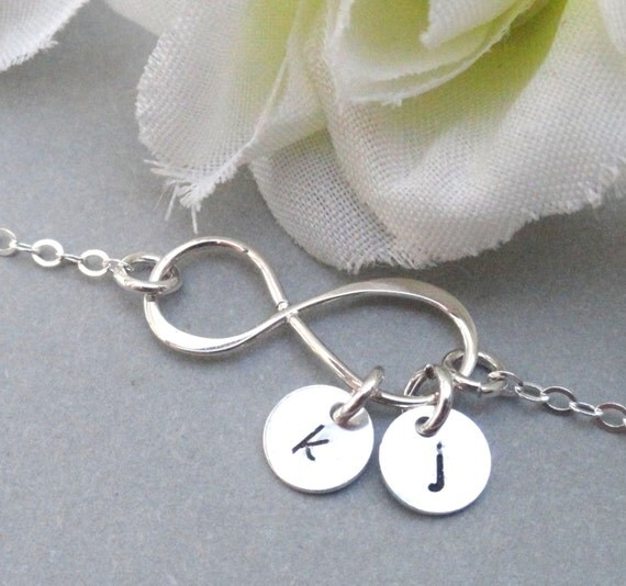 personalized infinity bracelet with two initials by