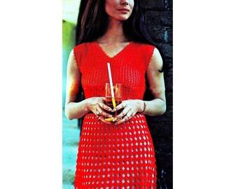 Almost Free Vintage Crochet Pattern   Party Dress Mini Retro Plus Free Pattern  INSTANT DOWNLOAD PDF