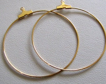 Earring Hoops,  Gold plated large hoops, Hoop Wires,  Beading Findings,  Add a bead,Earring components , Dangle Hoops, 40mm 2 pair Item #962