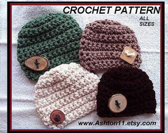INSTANT DOWNLOAD Crochet Pattern PDF 238, Ashton Basic Chunky unisex beanie, all sizes baby to adult, men, women, children