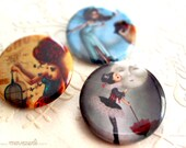 Pick 3 illustrated pinback buttons - 1.25""