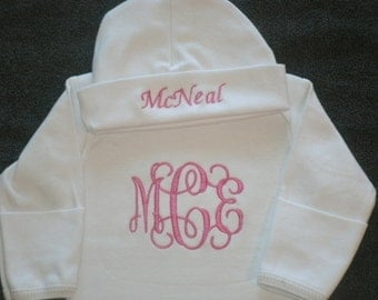 Custom Personalized Infant Gown and Cap set Monogrammed Layette Gown