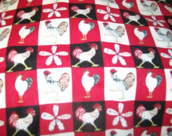 M'Liss Rooster Patch Cotton Fabric 1/2  Yard Cotton