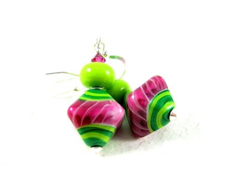 Watermelon Earrings, Hot Pink Green Glass Earrings, Bright Color Jewelry, Lampwork Earrings, Beadwork Earrings, Dangle Earrings - Watermelon