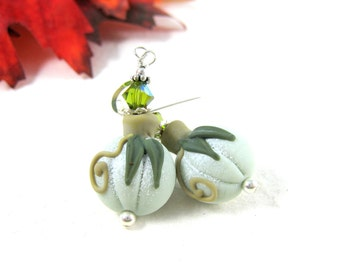 White Pumpkin Earrings, Fall Autumn Jewelry, Lampwork Earrings, Halloween Earrings, Harvest Earrings, Thanksgiving Earrings - Ghost Pumpkins