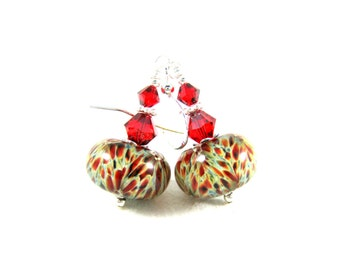 Red Beige Green Earrings, Boro Lampwork Earrings, Glass Earrings, Beadwork Earrings, Dangle Earrings, Sage Green Rust Earrings - Autumn Days