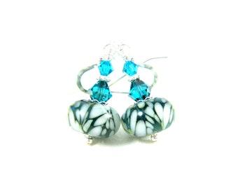 Dark Teal & White Earrings, Simple Earrings, Boro Lampwork Earrings, Glass Earrings, Beadwork Earrings, Teal Dangle Earrings - Snow Day