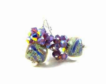 Purple Crystal Earrings, Rustic Earrings, Blue Purple Ivory Earrings, Boro Lampwork Earrings, Cluster Earrings, Colorful Glass - Granite