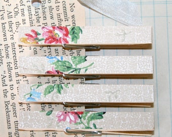 Vintage Floral Wallpaper Decorative Clothespin Magnets