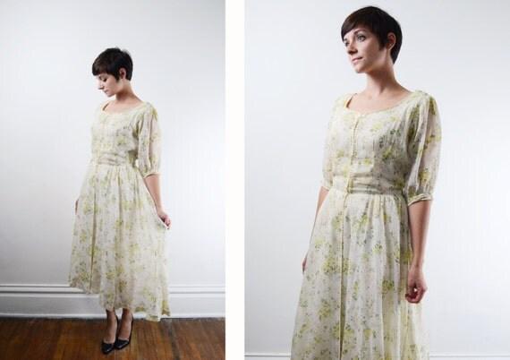1940s/1950s Floral Dress / Spring Wedding / Floral Wedding Dress | 1950s Wedding Dress - M