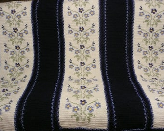 Morning Glory Afghan Crochet Throw Blanket -Beautiful Flowers-