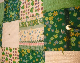 vintage Crazy quilt lap quilt ... Emerald green ... greens cream .. hand made textured boho Bohmian