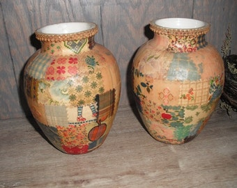 2 vintage decoupaged Arts and Crafts Vases ... Farm  house cottage chic .. tramp art patchwork .. BOHO Bohemian Chic