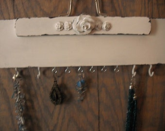 Shabby Chic Cottage Jewelry Hanger .. White with ROSES swag Hooks Holder UpCycled Repurposed French cottage