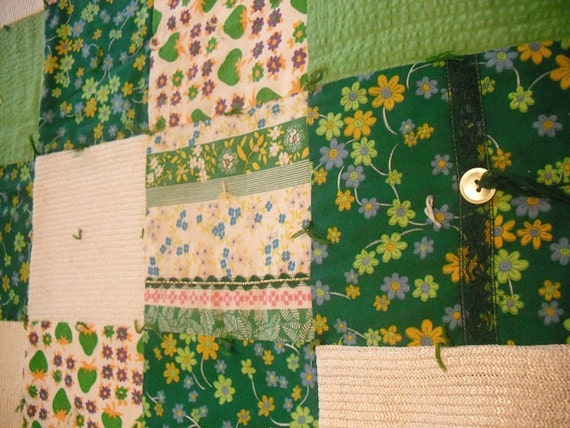 vintage Crazy quilt lap quilt ... Emerald green ... greens cream .. hand made textured