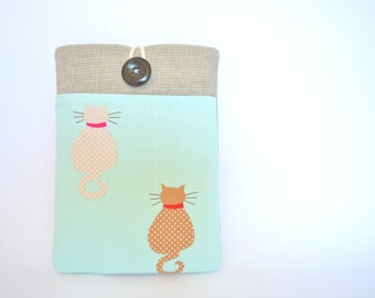 Kindle Paperwhite Case, Cat Kindle Fire HD Sleeve, Nexus 7 Sleeve, Kindle Cover with Pocket - Cats in Mint
