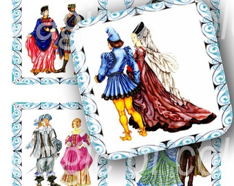 Ancient Clothes - 63  1x1 Inch Square JPG images - Digital  Collage Sheet