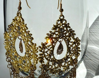 Gold Lacy Large Teardrop Earrings
