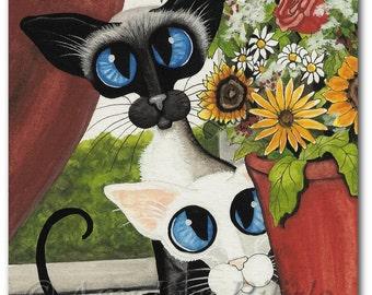 Siamese Oriental Cats Flowers - Art Prints by Bihrle ck368