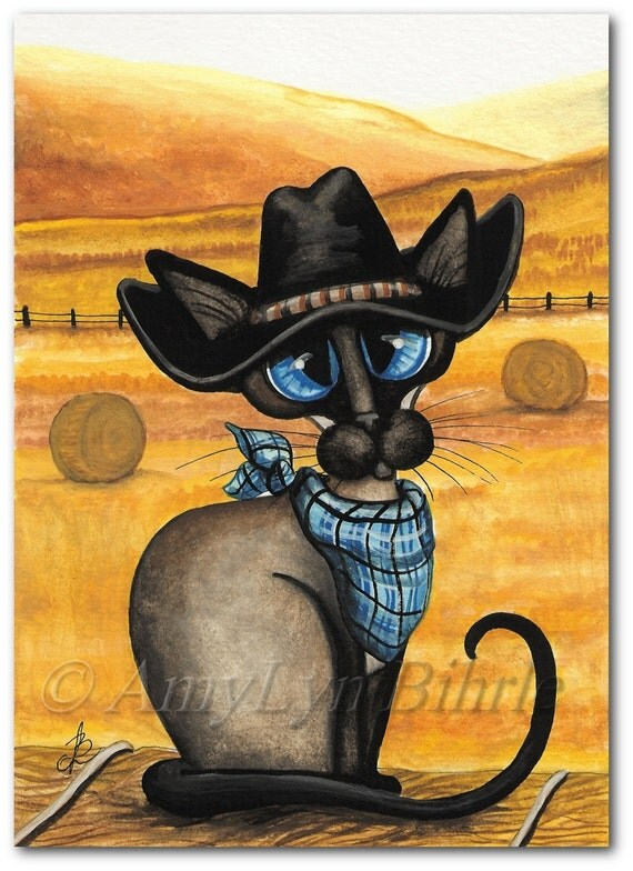 Siamese Western Cowboy Kitty Cat - Art Prints & ACEOs by Bihrle ck399