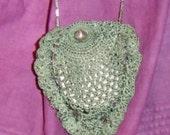 Reduced! Tiny Vintage Sea Green Crochet Drawstring Purse Fab Silver Chain, Revolver Charm!