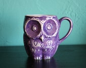 Ceramic owl mug in purple