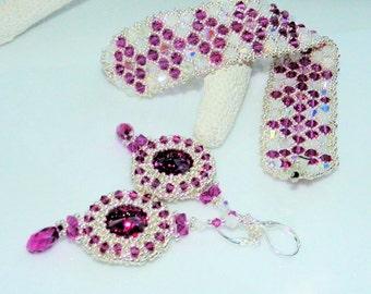 Bracelet and Earring set,Swarovski crystals and silver seed beads,Christmas Gift, Swarovski Crystal Stone