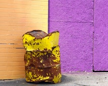 Purple and Yellow Color Block Art,  Urban Street Art Photograph, Modern City Landscape,Trash Can on Sidewalk, Square Wall Print, Peach Gold