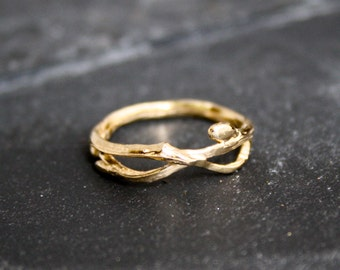 14 Kt Gold Infinity branch organic twig wedding bands engagement ring, twig ring, branch band, organic wedding, rustic wedding, natural