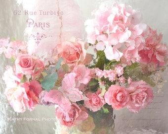 Paris Flower Photography, Shabby Chic Decor, Paris Roses Wall Art, Dreamy Paris Roses Print, Romantic Paris Pink Roses Floral Photography