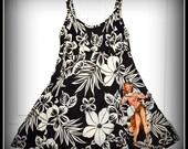 Repurposed Vintage retro rockabilly Pin up Girl Tiki Style & Flowers Swimsuit