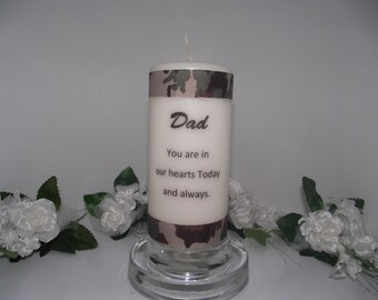 Pillar memory candle for dad the hunter