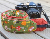 Monogramming Included Extra Long Camera Strap for DSL camera Fun Funky Mushroom Print With Dark Orange Reverse