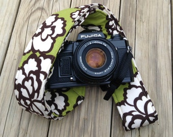 Ready To Ship Extra Long Camera Strap for DSL camera Grass Green and Brown Floral No Monogram